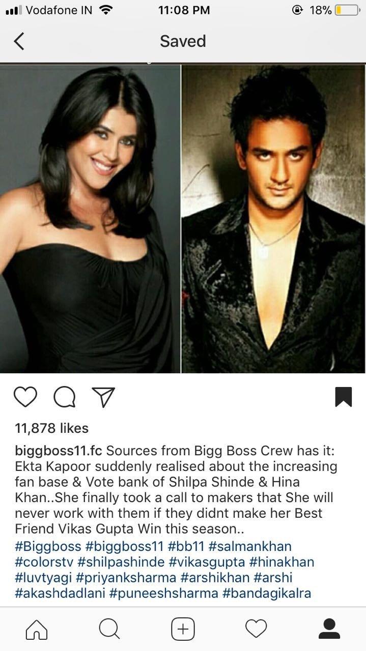 Bigg Boss 11: Ekta Kapoor threatens Colors TV to make Vikas Gupta win?