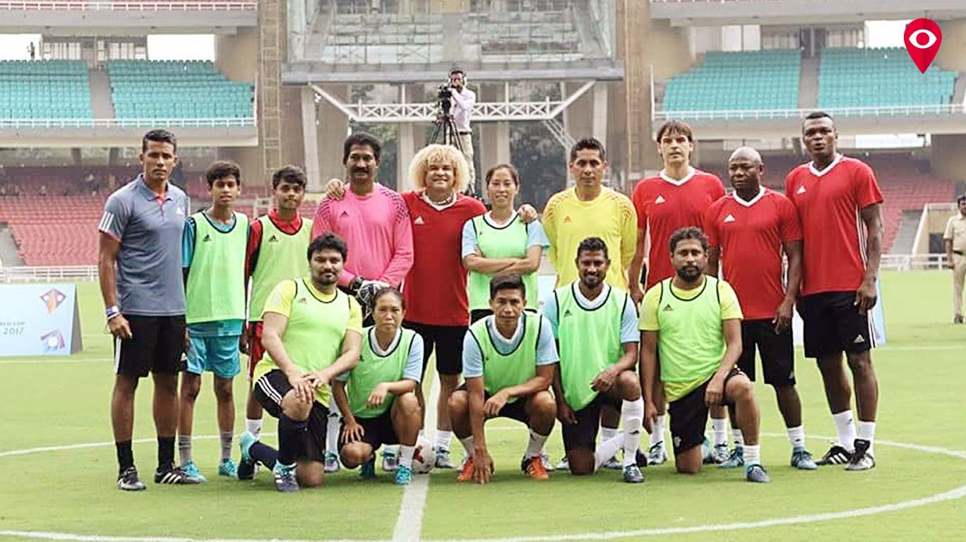 Football legends inaugurate FIFA U-17 Winners' Trophy during an exhibition match