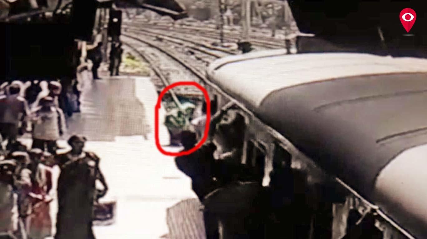 चालत्या ट्रेनसमोर झोपली महिला!