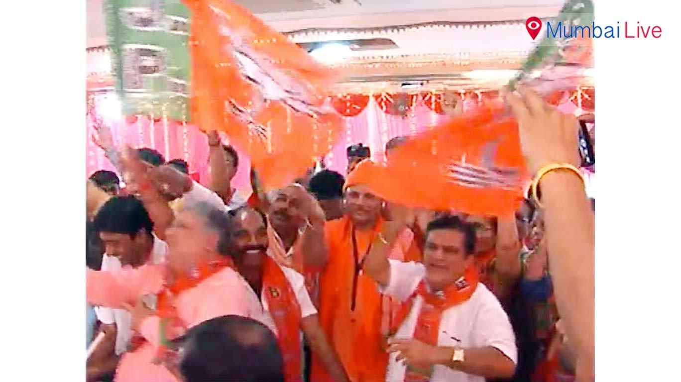 Followers of Yogi Adityanath celebrate in Mumbai