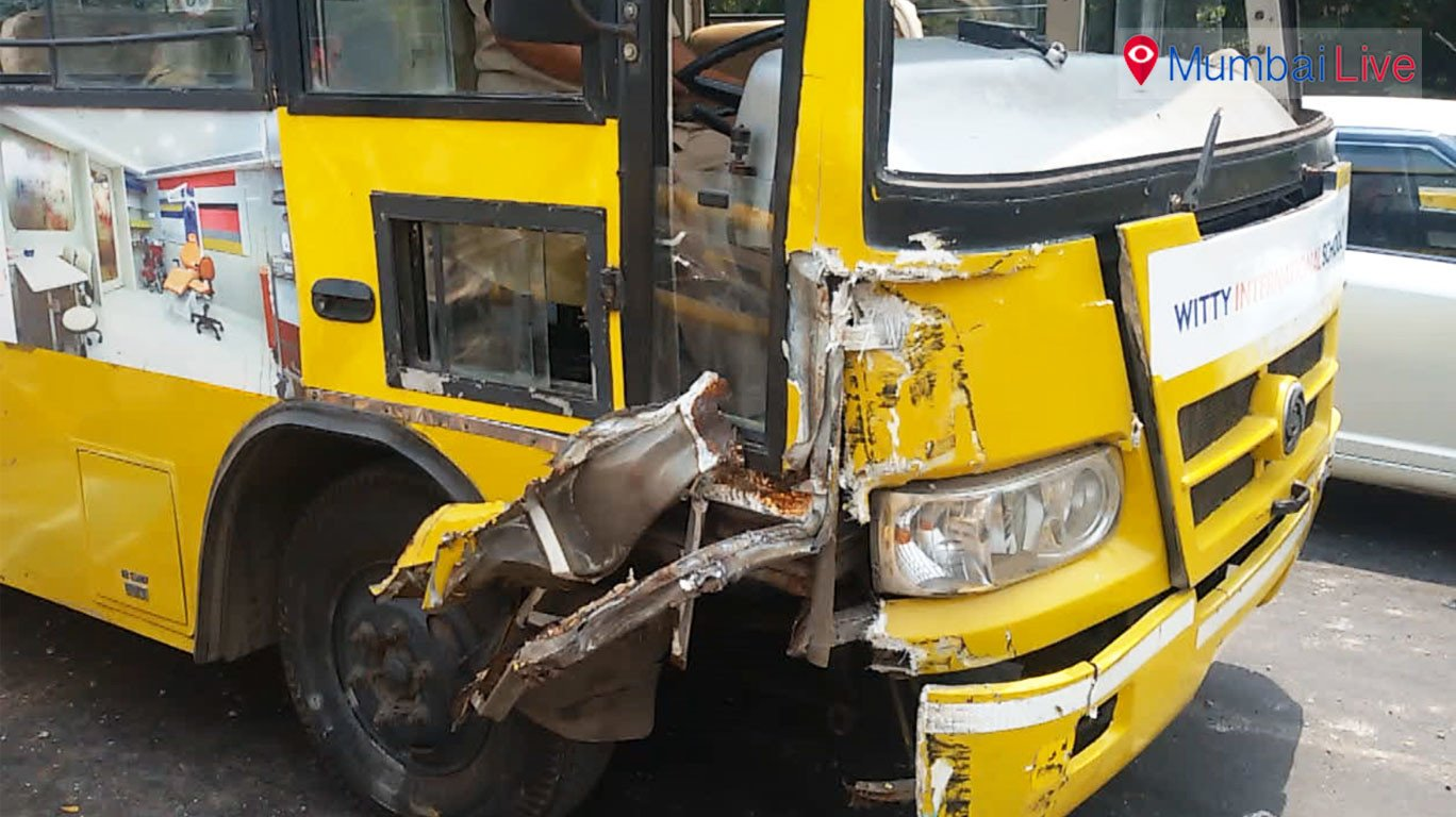 School bus rams into divider, a major mishap averted