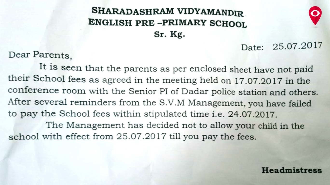 Dadar School hikes fees and then refuses children to enter for not paying
