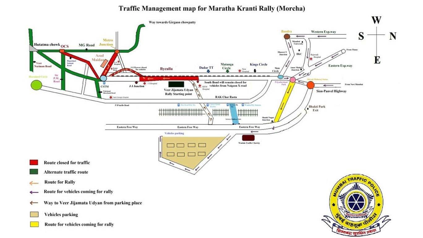 वाहनचालकांनो मराठा मोर्चाच्या तडाख्यात सापडू नका, या मार्गांचा करा वापर