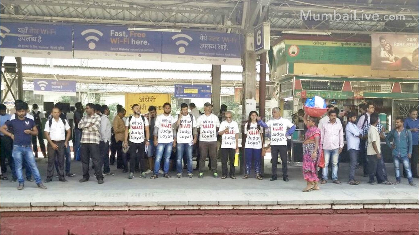Who Killed Judge Loya? Activists protest in Mumbai's local trains