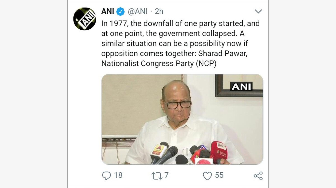 Opposition should unite against ruling party: Sharad Pawar