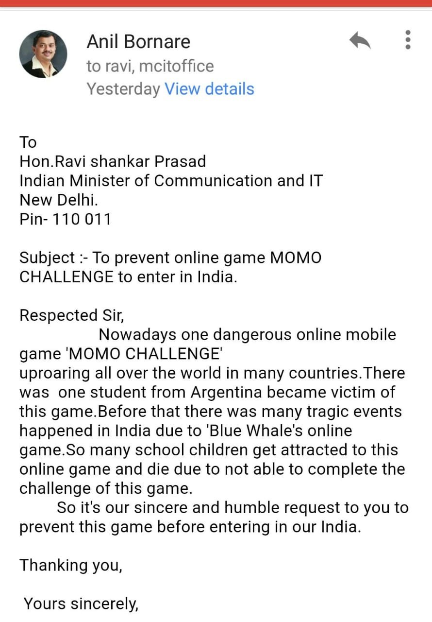 Mumbai Teachers' Council demands a ban on Momo Challenge game