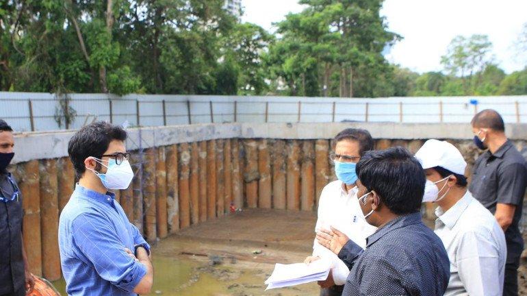 Ahead of monsoons, Aaditya Thackeray inspects developmental work of the underground tanks in Mumbai