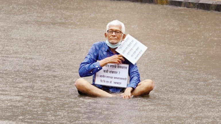 Mumbai: 70-Year-Old Protests in Flooded Road; Blames VVMC for Waterlogged Home