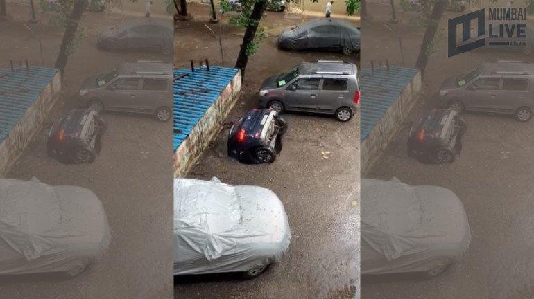 Trending Viral Video: Sinkhole swallows a car in Ghatkopar's residential society