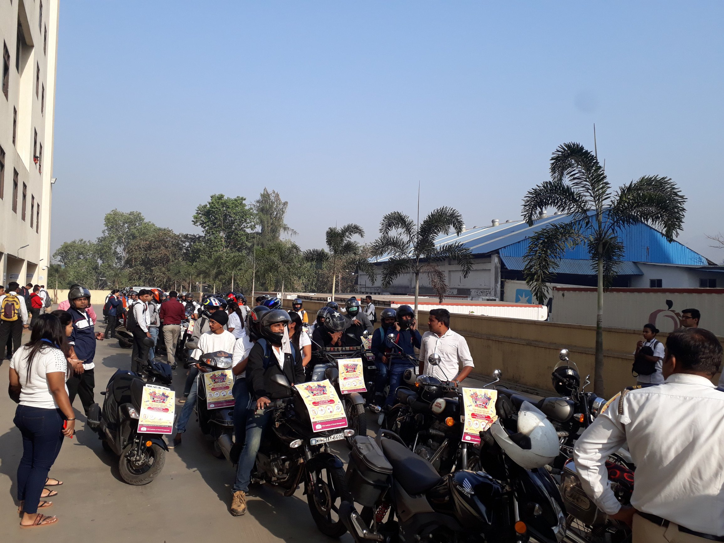 ITM IHM students participate in a bike rally to spread awareness about road safety