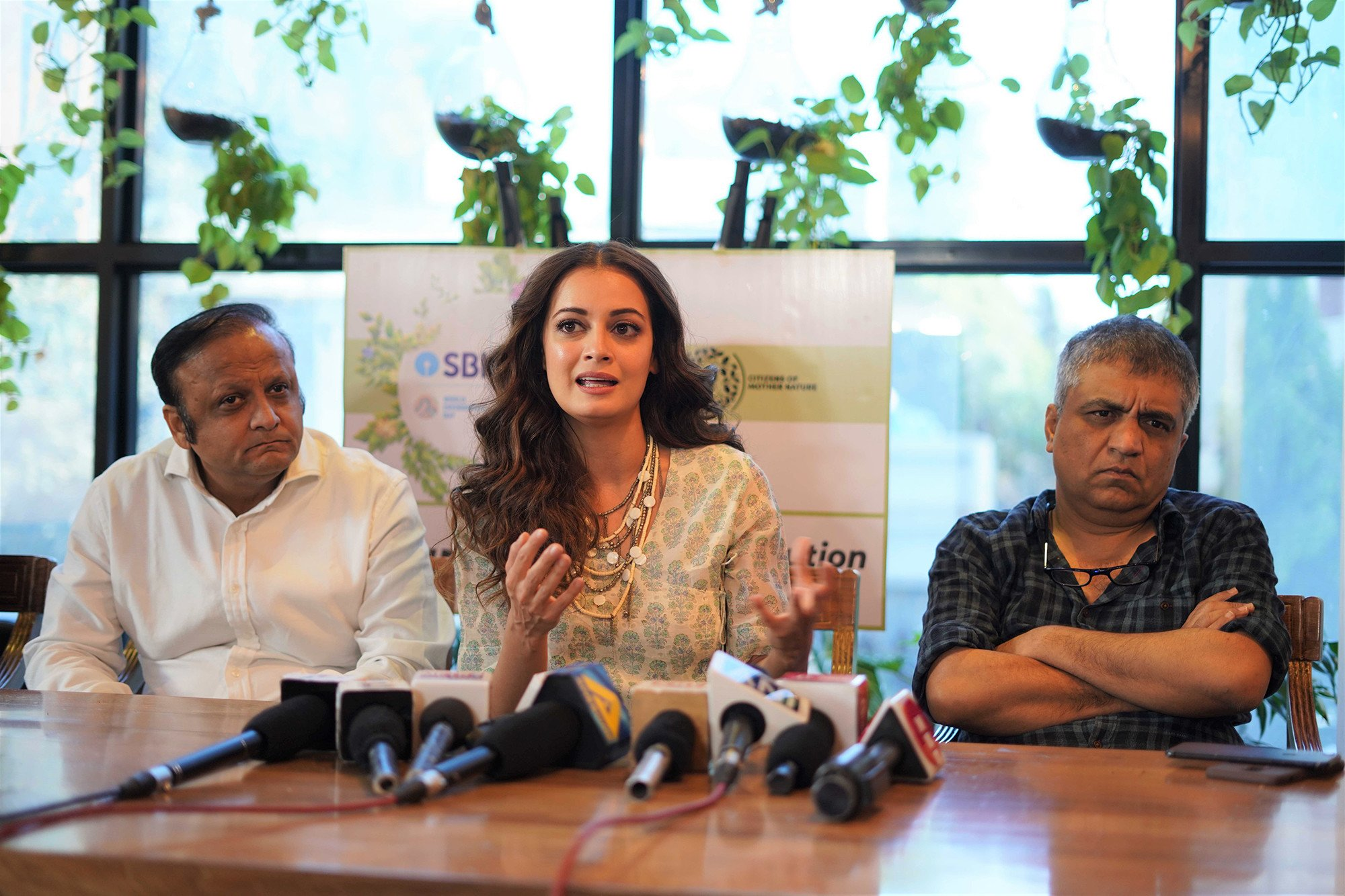 Dia Mirza, Asif Bhamla and Swanand Kirkire at Bhamla Foundation's 'Hawa Aane De' anthem launch