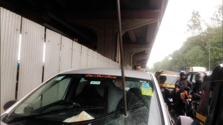 Mumbai fashion designer in a cab survives an eight-foot long iron rod that fell from JVLR flyover