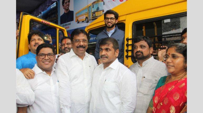 Aditya Thackeray, Sachin Ahir and Sangeeta Ahir Inaugurate School Bus Service for Girl Child in Worli