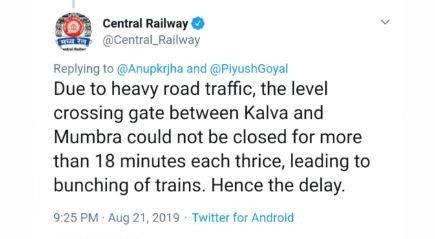 ट्रैफिक जाम के कारण मध्य रेलवे लड़खड़ाई