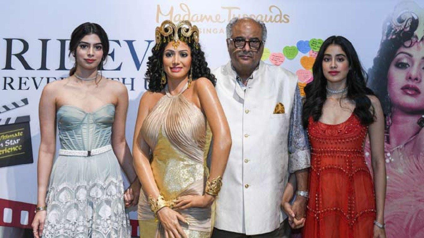 Boney Kapoor, Janhvi Kapoor unveil Sridevi`s wax statue at Madame Tussauds Singapore