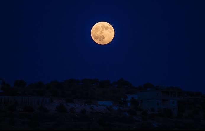 Spooky Harvest Moon in the sky tonight