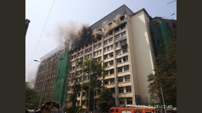 मजगांव के GST भवन में लगी आग