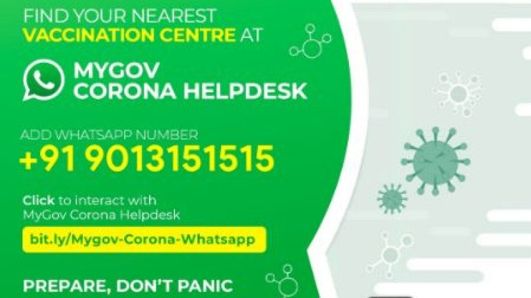 Step-by-step guide to use the MyGov WhatsApp chatbot to locate nearest vaccination center