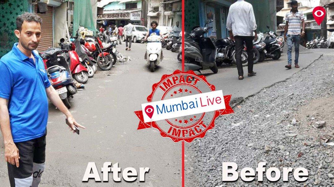'मुंबई लाइव्ह'च्या बातमीची दखल, उमरखाडी क्रॉसलेनचा रस्ता झाला दुरुस्त