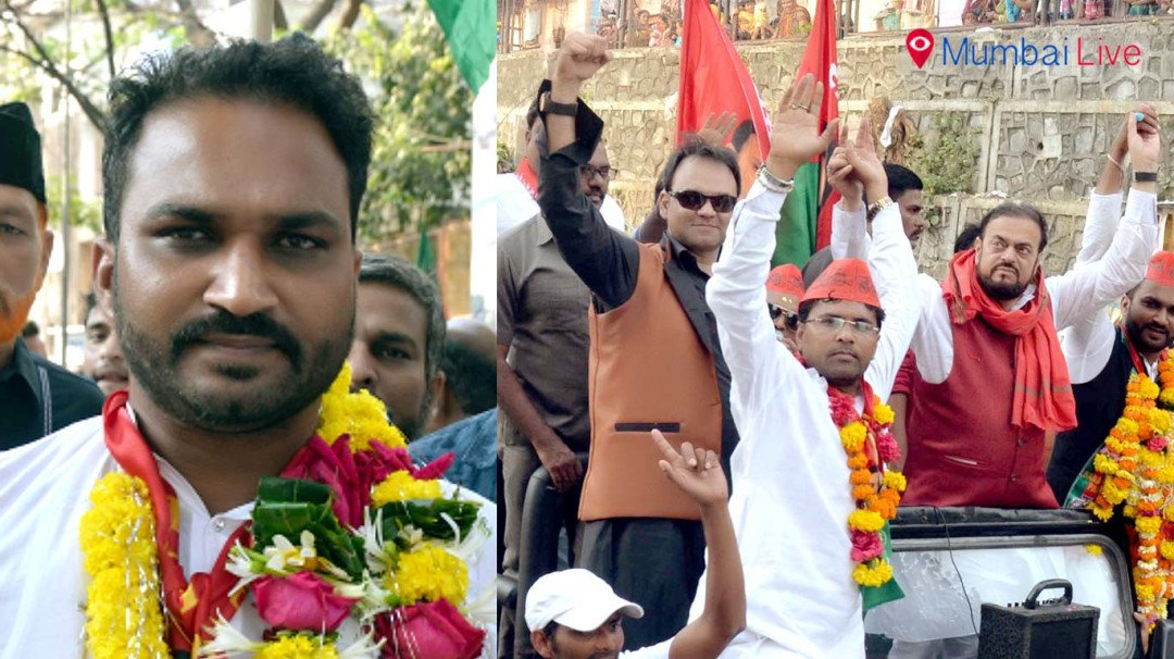 Abu Azmi holds road show for candidate in Andheri