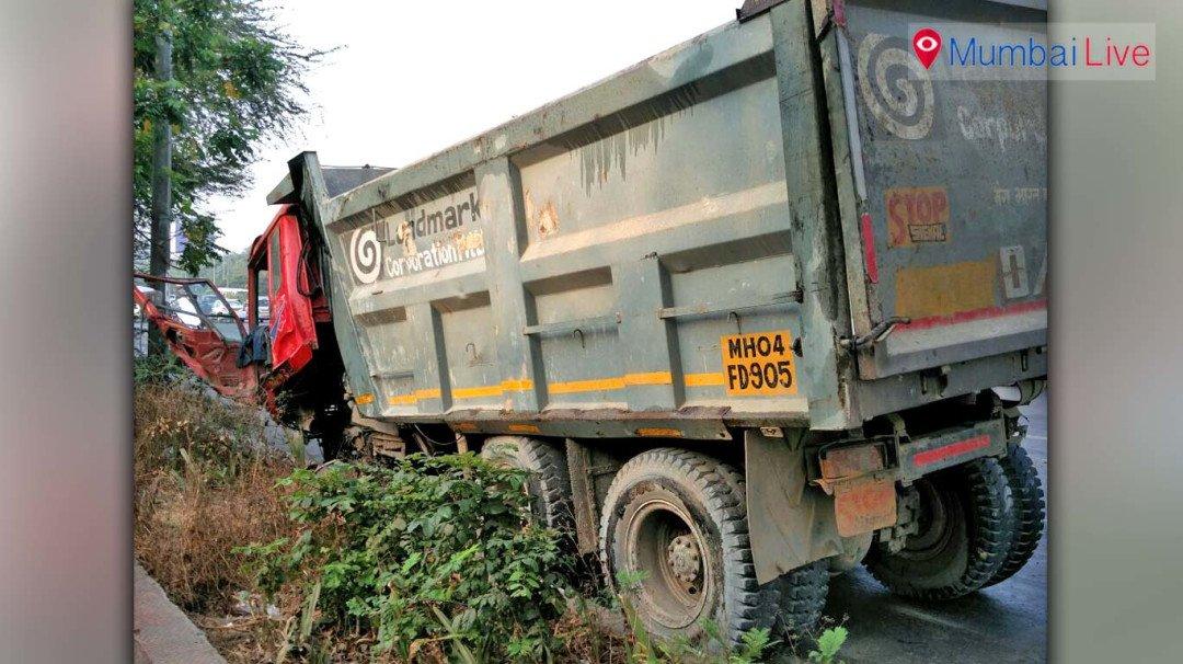 Dumper crashes into divider on Western Express Highway