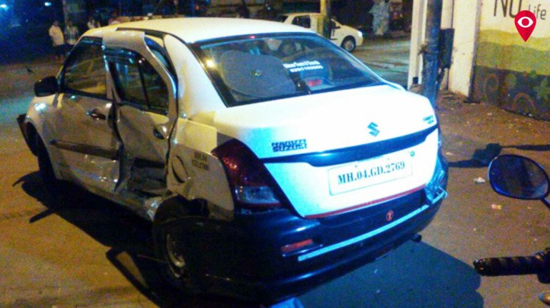 Woman driver hits a car, flees from the spot