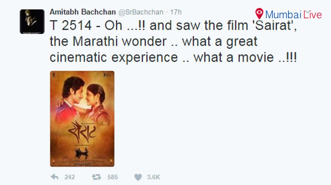 Big B praises Sairat