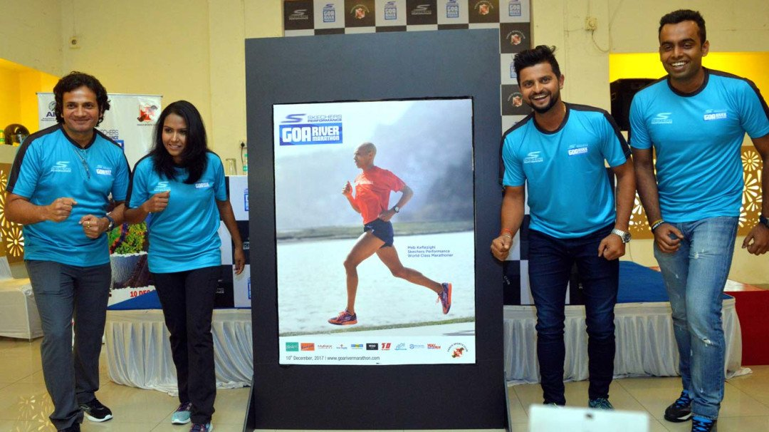 Suresh Raina, Kavita Tungar unveil logo of the 8th Skechers Performance Goa River Marathon