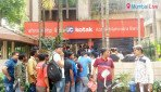 Long queues at bank