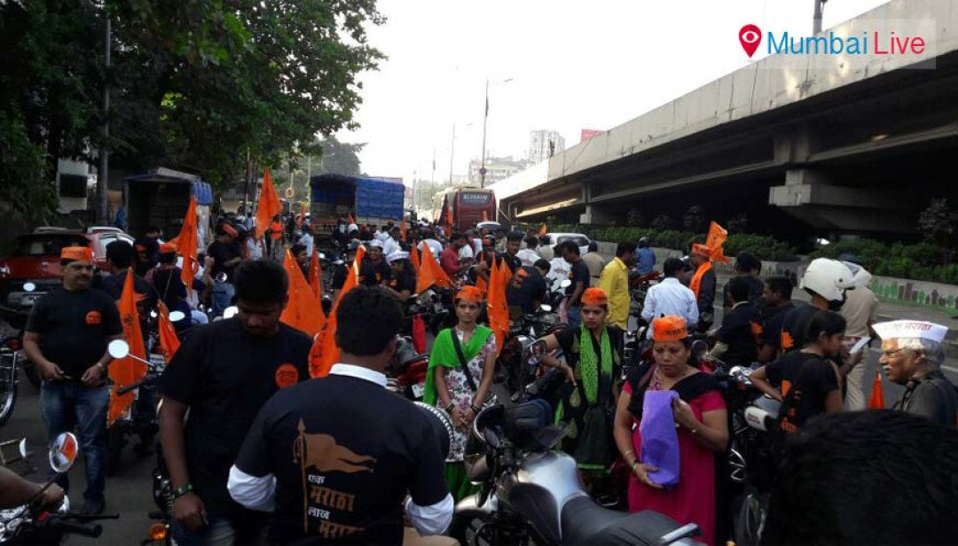 Sena leaders participate in Maratha bike rally