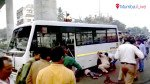 Dumper hits bus, but major mishap averted