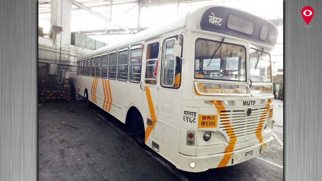 Trial run of newly painted white BEST buses on cards