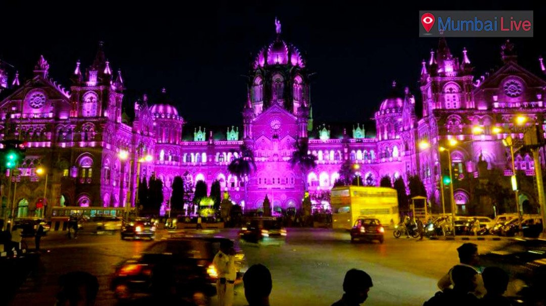 CST building turns pink to wish women's Day