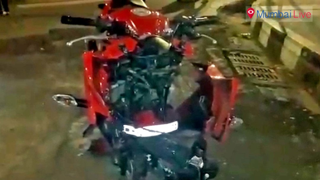 Jaguar rams into speeding bike, injures four people