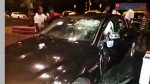 Jaguar rams into speeding bike, injures four people