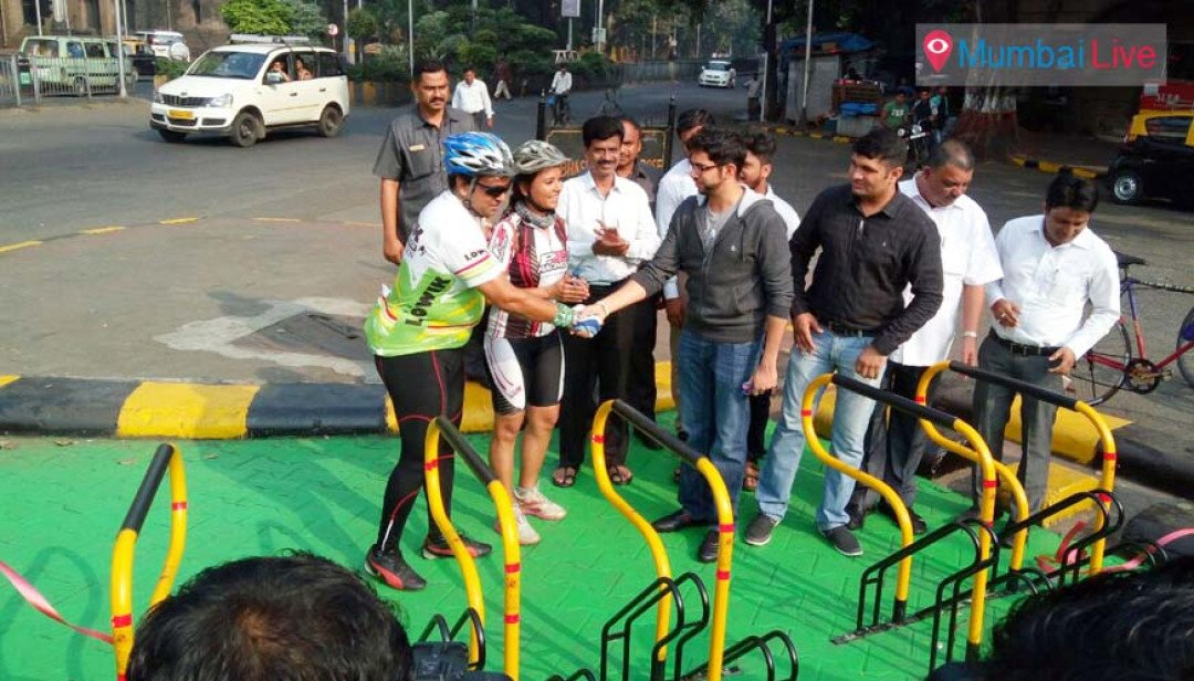 Aditya Thackeray inaugurates bicycle stand