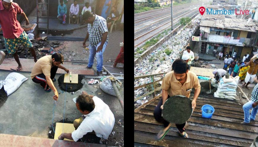 Dharavi residents repair FoB from donations