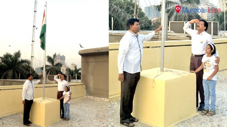 Flag hoisting ceremony in E ward