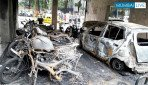 भीषण आग में 20 बाईक स्वाहा