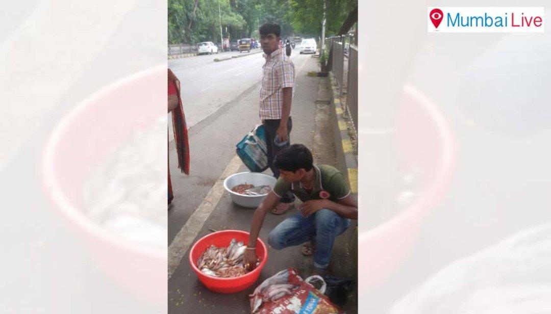 स्थानिकांची मासे विक्रेत्यांविरुद्ध तक्रार