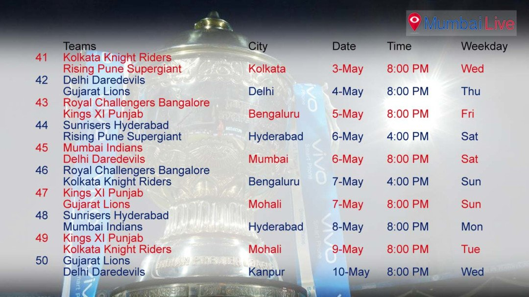 The IPL 2017 timetable is out!