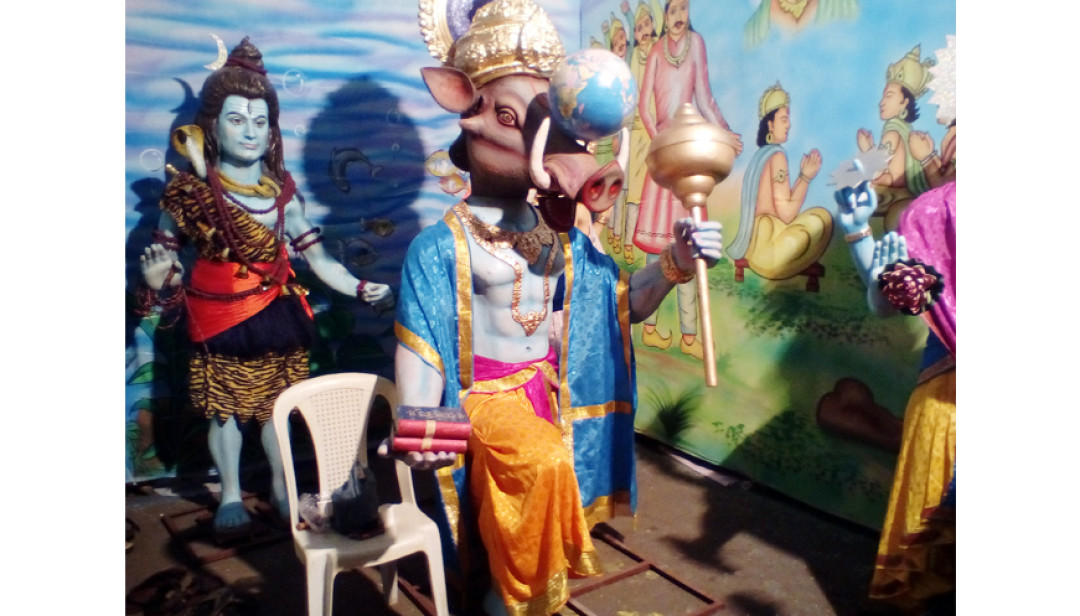 Kesri Mitra Mandal prepped up for Bappa