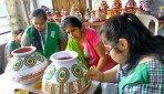Special kids prepare garba matkas