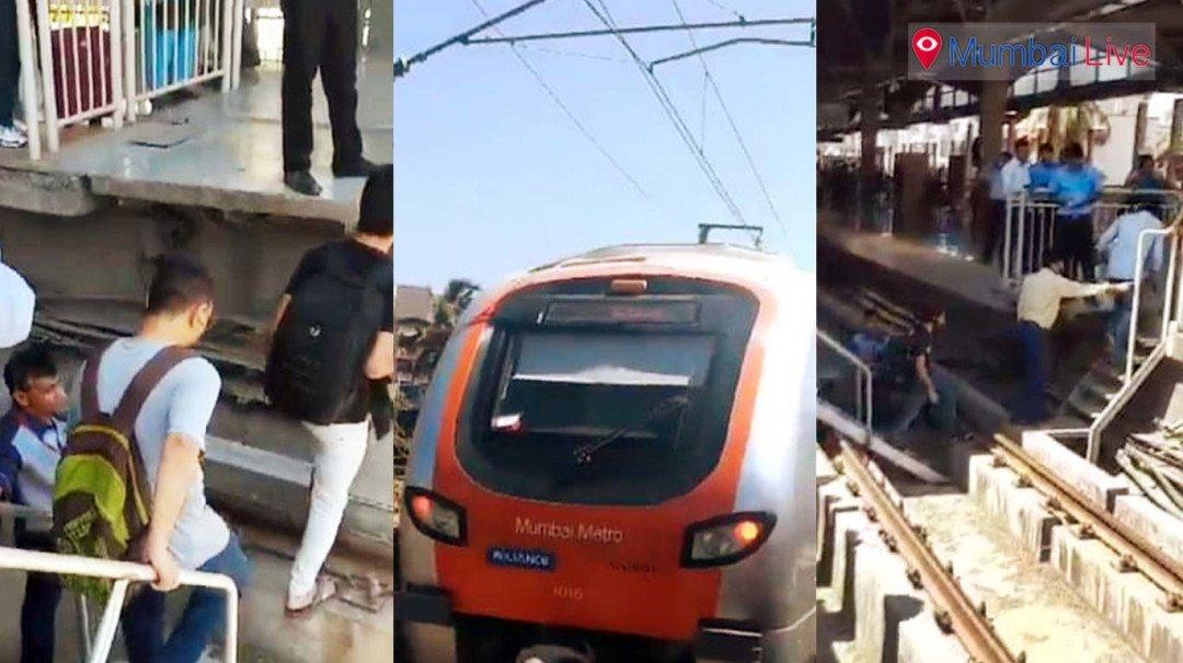 Commuters walk on tracks as Metro breaks down