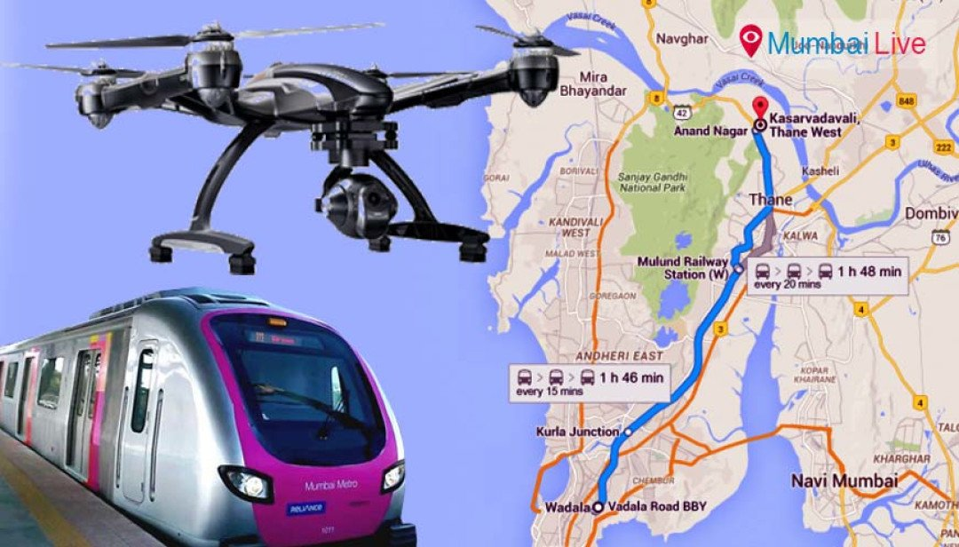 Drone cameras to survey metro station work