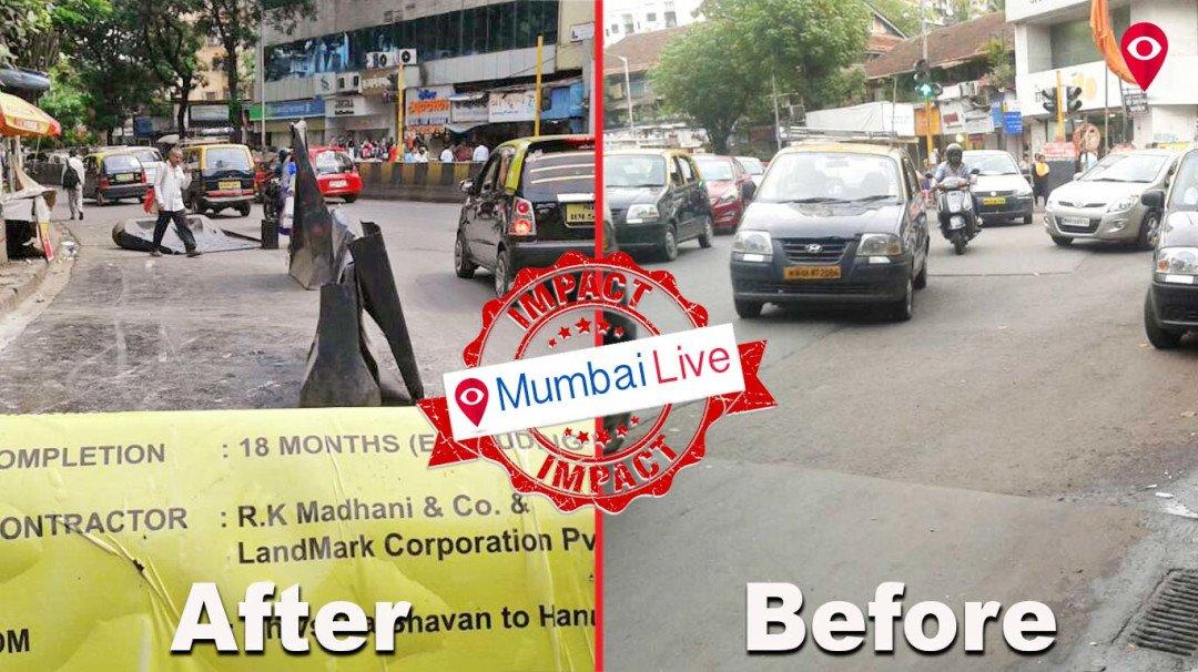 न. चिं. केळकर मार्गाचे अर्धवट काम पूर्ण; 'मुंबई लाइव्ह'चा दणका