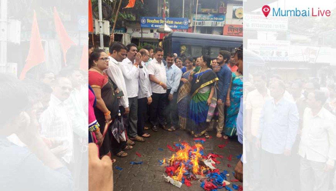 Shiv Sena burns Nirupam effigy