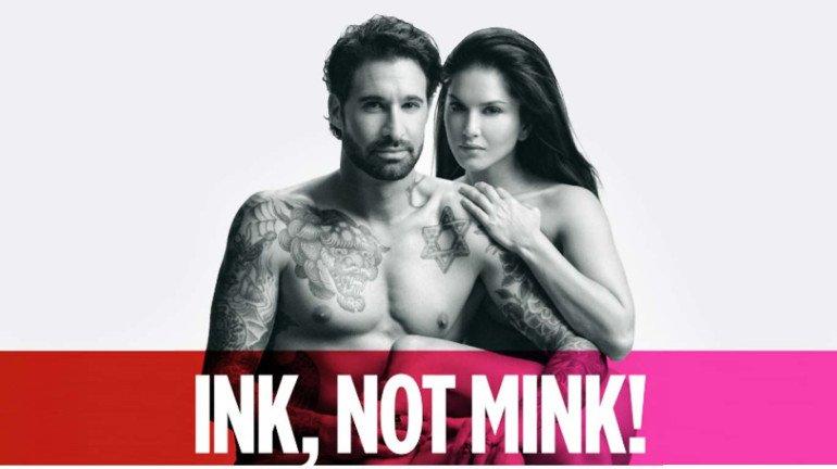 Sunny Leone and Daniel Weber promote PETA's 'Ink, Not Mink' campaign