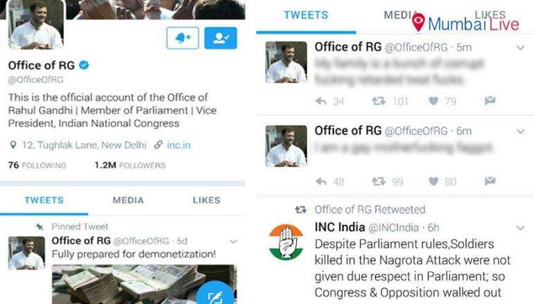 Rahul Gandhi's twitter account hacked