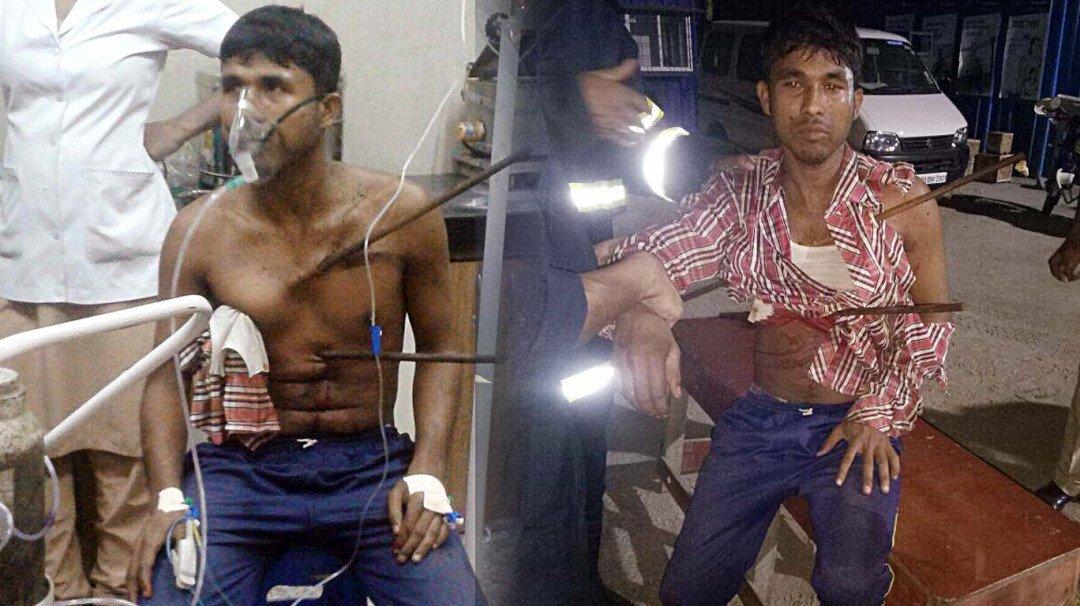 Iron rod pierces through a labourer at a construction site; survives post surgery